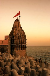 View of Shree Dwarkadhish Krishna Temple at Dwarka, Gujarat, India