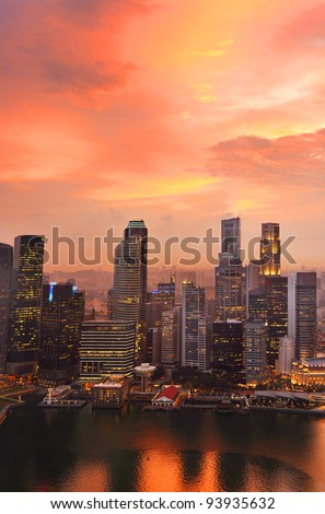 View of Singapore from Marina Bay Sand Resort at beautiful sunset - stock photo