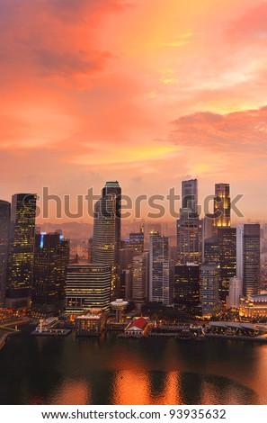 View of Singapore from Marina Bay Sand Resort at beautiful sunset