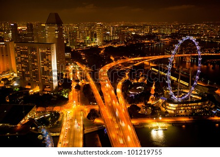 View of Singapore from roof Marina Bay hotel, in the night time.