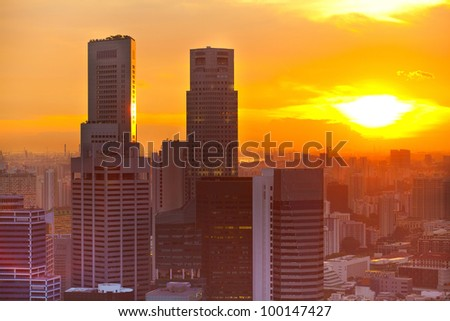 View of Singapore in the evening at sunset