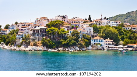 View of Skiathos town and harbour in Greece, summer 2012 - stock photo
