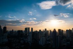 view of skyscraper in Bangkok, Thailand in sunset.