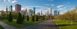 View of skyscrapers from Millennium Park in Chicago at sunset