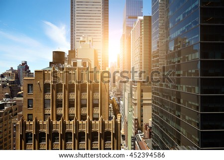 View of skyscrapers in Manhattan, New York City.