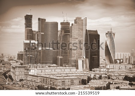 View of Skyscrapers International Business Center, Moscow, Russia. Photo toned in sepia #215539519