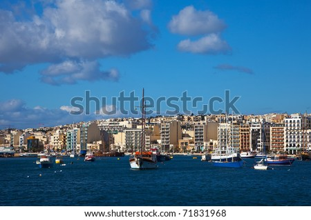 View of Sliema and boats in Sliema Creek. Malta