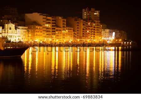 View of Sliema from sea side in night. Malta