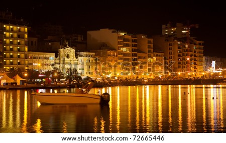 View of Sliema seaside in  night. Malta