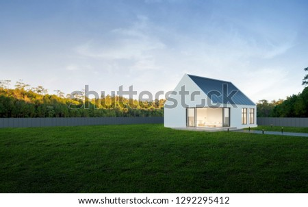 View of small modern house in minimal style with green lawn on blue sky background,Contemporary residence design. 3D rendering.