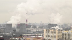 view of smocking pipes of Moscow winter day to Ozernaya street timelapse