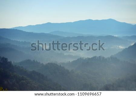 View of Smoky Mountains at daybreak near Gatlinburg