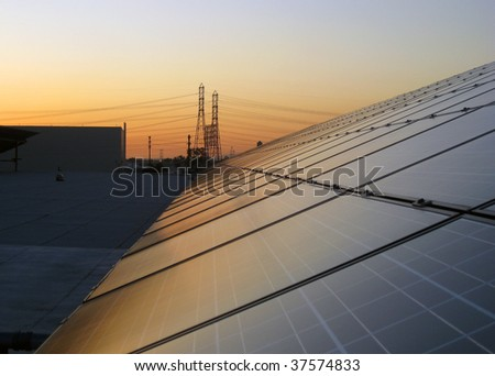 View of solar panels with electrical power lines in the background