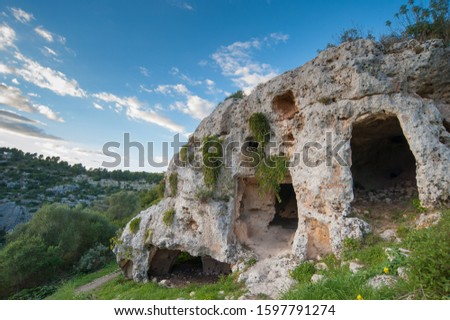 View of some tombs in the rock necropolis of Pantalica in east Sicily Stock photo ©