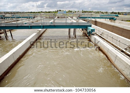 View of some water treatment plant facilities.