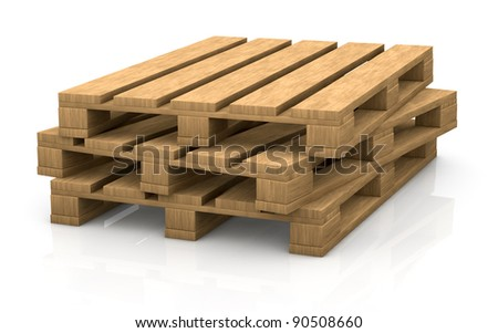 view of some wooden pallets (3d render)