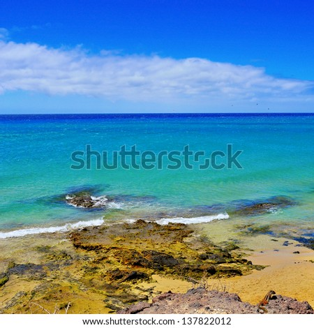 view of Sotavento Beach in Fuerteventura, Spain - stock photo