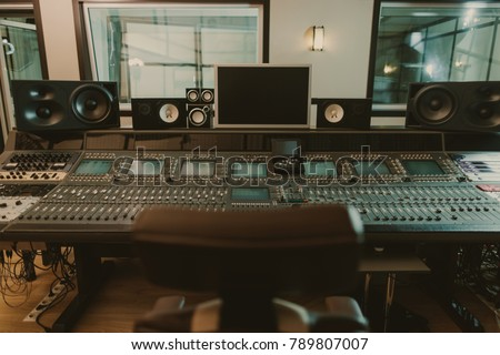 view of sound producing equipment at recording studio #789807007