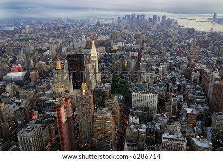 View of South Manhattan from Empire State Building at dusk