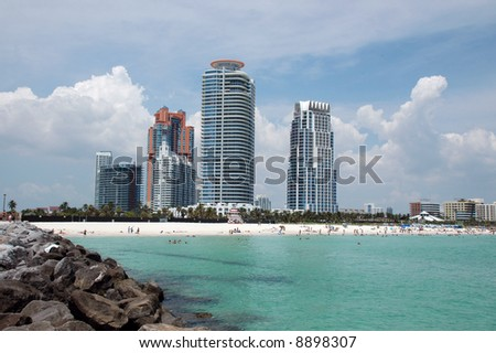 View of Southern end of South Beach with Condos from Jetty