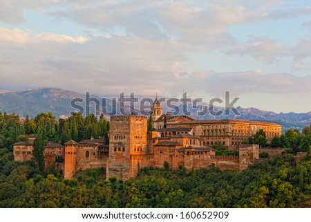 view of Spain's main tourist attraction: ancient arabic fortress of Alhambra, Granada, Spain