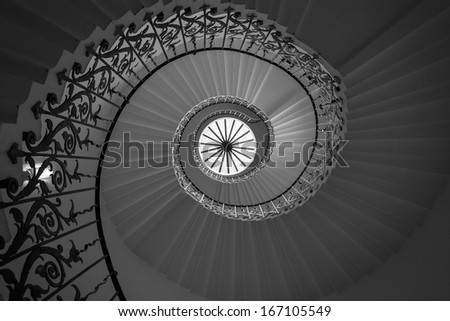 View of spiral staircase from the ground looking up
