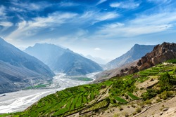 View of Spiti valley and Spiti river in Himalayas. Spiti valley, Himachal Pradesh, India