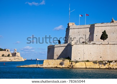 View of St. Angelo Fort and Grand Harbour. Malta