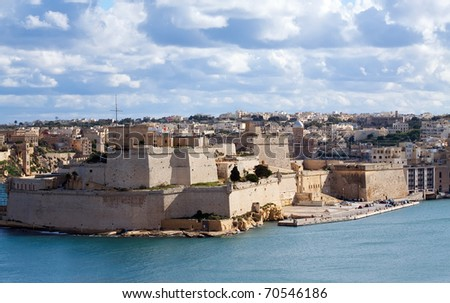 View of St. Angelo Fort at Vittoriosa. Malta - stock photo
