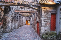 View of St. Catherine's Passage, Old Town of Tallinn, Estonia