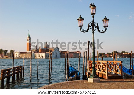 View of St. Giorgio across the grand canal in Venice, early in the morning - stock photo