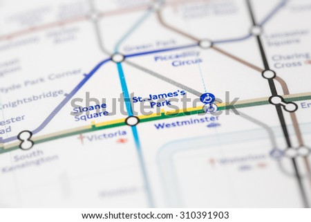 Free photos View of St Jamess Park station on a London subway map