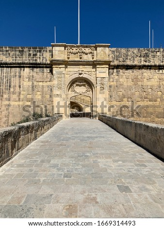 View of St John bastion and advanced gate (bastion gate) Vittoriosa (Birgu) Malta Europe.The Vittoriosa Advanced Gate is the second of the 3 main gates, located on the right face of St. John Bastion