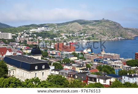 View of St. John's, Newfoundland, the harbor and Signal Hill.