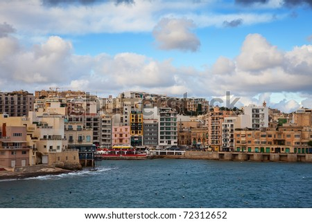 View of St. Julian's from sea side. Malta