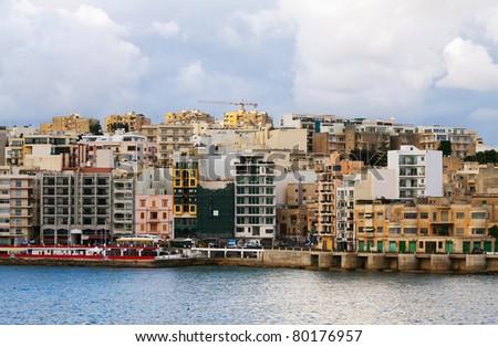 View of St. Julian's from sea side. Malta