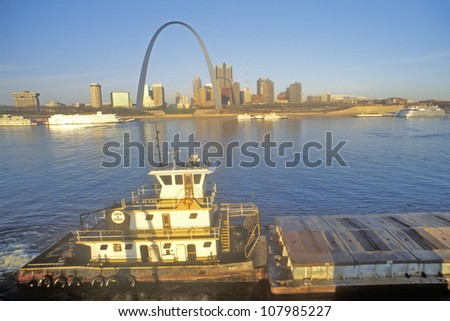 View of St. Louis, Missouri skyline from Mississippi