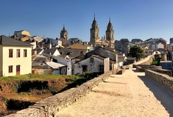 View of St Mary Cathedral in Lugo, Spain, seen from historic Roman walls.