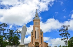View of St. Nicholas Cathedral in Dalat, Vietnam. Dalat looks somewhat like a cross between Vietnam and rural France.