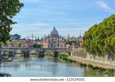 View of St. Peter's Basilica and a bridge Santangelo from the bridge Umberto I
