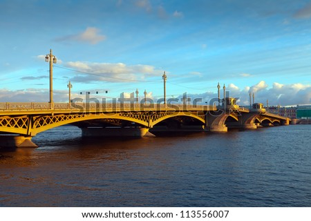 View of St. Petersburg.  Blagoveshchensky (Annunciation) Bridge in morning