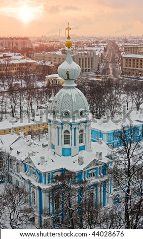 View of St. Petersburg from Smolny church, Russia.