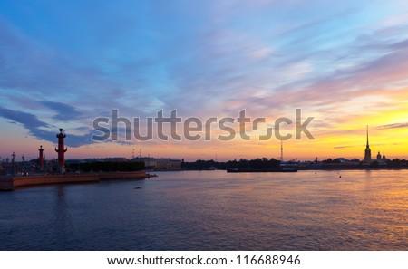 View of St. Petersburg. Neva river in morning