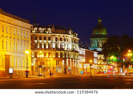 View of St. Petersburg.  Saint Isaac's Cathedral  from Palace Square in night
