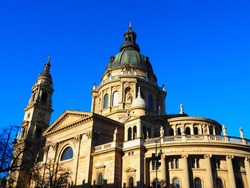 View of St Stephen's Basilica in Budapest, Hungary. It is a Roman Catholic basilica and it is named in honour of Stephen, the first King of Hungary.