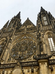 View of St. Vitus Cathedral, Gothic resting place of saints including Vitus, Wenceslas and Adalbert as well as the state treasury.