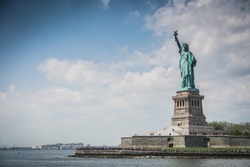 View of Statue of Liberty in New York,