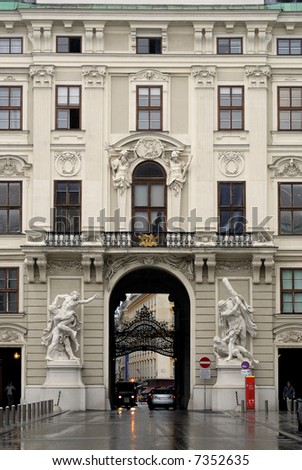 view of statues and front of the horfburg palace - stock photo