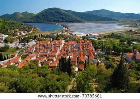 View of Ston town with salt fields on Peljesac peninsula