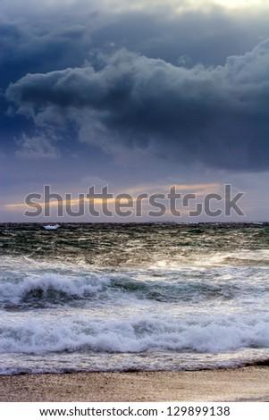 View of storm seascape in the Almeria coast, Spain